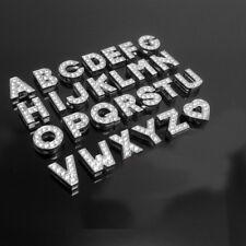 130PCS 8mm Sliver Full Rhinestone Slide Letters Charm Fit 8mm Belt, Bracelets