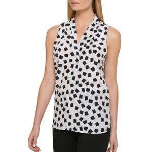 DKNY  Women's Black/white Brushstroke-print V-neck Blouse Top 4 $59