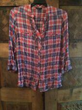 Drew Sz M Cotton Plaid Ruffle Button Down Shirt
