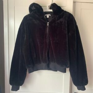 Topshop Black Fluffy Faux Fur Zip Bomber Jacket Hoodie