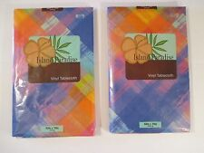 "2 NIP ELRENE  ISL PARADISE Plaid Party Kitchen Vinyl Tablecloth~Oblong 52"" X 70"""