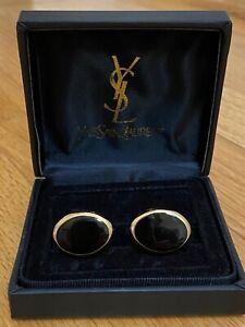Vintage Yves Saint Laurent 18kt Gold Plated Oval Onyx Cufflinks Orignal Box EUC