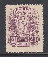 Argentina, Salta, Forbin 48 mint 1910 20p Ley de Bosques Fiscal Top Value to Set