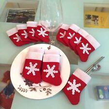 3PC Mini Christmas Stockings Xmas Tree Decorations Dinnerware Tableware Socks