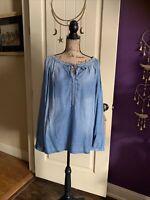 Denim Blue $74.50 Vintage America Blues Boho Peasant Tunic Blouse Top Viscose M