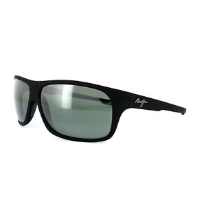 Maui Jim Sunglasses Island Time 237-2M Black Matt Rubber Grey Polarized
