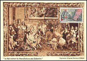 Carte Maximum 1962 - Le roi visitant la manufacture des gobelins