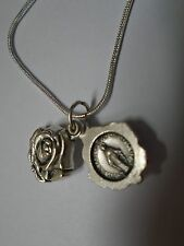 """Miraculous Medal Rose Pendant  Necklace 925 Sterling Silver Snake Chain 20"""""""