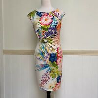 Womens Biancoghiaccio Dress Size 12 14 White Red Made in Italy Floral Event