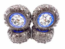 NEW TRAXXAS 1/10 SUMMIT CANYON AT TIRES & 17mm CHROME GEODE WHEELS BLUE 5607