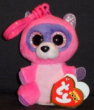 TY BEANIE BOOS - ROXIE the RACOON KEY CLIP - MINT with MINT TAG