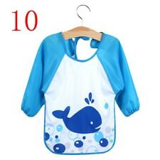 Cute Baby Boy Girls Waterproof Long Sleeve Bibs Children Feeding Smock Apron