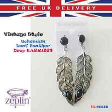 Retro Style  Long Feather Shape Vintage Drop Earrings Perfect for Anniversary