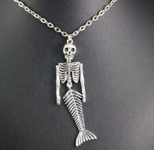 "Mermaid Skeleton Pendant Necklace Skull 20"" Chain Bones Gothic Steampunk UK"