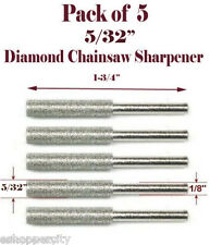 "5 Pc 5/32"" Diamond Chainsaw Sharpener Burr Stone Round File Fits 1453 Craftsman"
