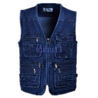 Men's Casual Denim Sleeveless Vest Pocket Outdoor Zipper Jean Waistcoat Coat WU