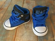 CONVERSE ALL STAR Black Blue Hi Top Lace-Up Sneakers ~ Toddler Walking Shoe Sz 4