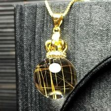 Natural Gold Hair Rutilated Quartz Crystal Necklace Pendant AAAA 18mm Silver 925