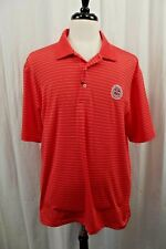 NEW Oxford Golf Mens Super Dry Polo Shirt L Large Orange Striped Cool Max