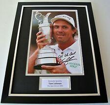 Tom Lehman SIGNED FRAMED Photo Mount Autograph 16x12 display Golf Open 1996 COA