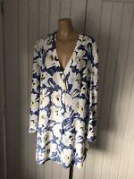 Ladies Long Sleeve V Neck Tunic Blouse Top Plus Sz 46 UK 20 Collarless , NEW