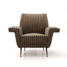 Poltrona in velluto a righe anni '50, vintage armchair, fauteuil, italian design