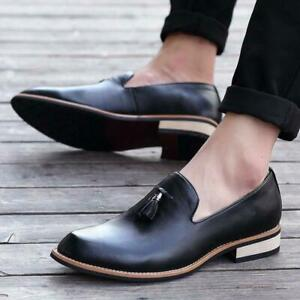 Men Tassel Loafers Leather Casual Retro British Style Dress Formal Shoes Slip On