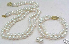 New 2 Rows White 8mm Akoya Cultured Shell Pearl Necklace Bracelet Earring Set AA