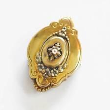 Schöne antike Jugendstil Goldschaum vergoldet Brosche mit kleiner Perle um 1910