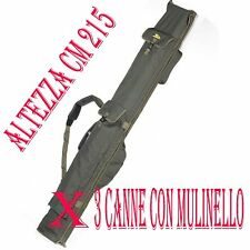 fodero carp fishing x3 canne con mulinello lunghezza 13 piedi imbottito mt.2,15