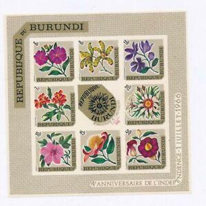 D177159 Flowers MNH Sheetlet Burundi Imperforate