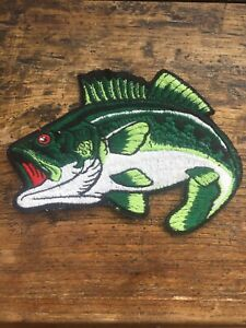 """Vtg Bass Fishing 6"""" Sew On Embroidered Patch Fish Tackle Hook Badge Small Mouth"""