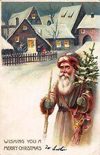 Christmas Postcard Brown Suited Santa Claus Walking in a Snowy Village~108436