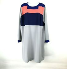 Eloquii Women's Long Sleeve Grey Color Block Dress Size 14