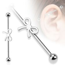 RIBBON Stainless STEEL Industrial Bar Scaffold Ear Barbell Ring PIERCING JEWELRY