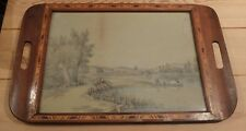 Early 20th century wooden serving tray with watercolour painting