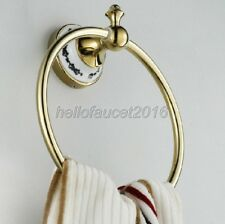Gold Color Brass Wall Mounted Bathroom Towel Ring Holder lba252