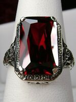 6ct *Red Garnet* Solid Sterling Silver Floral Filigree Ring Size (Made To Order)
