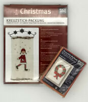 2 cross stitch Christmas ornament kits Rico Design with wood frame wall hanging
