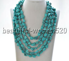 Z9189 12mm Natural Green Baroque Turquoise Necklace 100inch