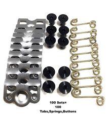 "7/16"" Aluminum Black Dzus Button Quarter Turn / Springs / Tab Plate RZR 100 PCS"