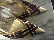 DOLCE & GABBANA - Multi leather latice work slingback pumps. - Sz: 36 / 6