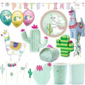 Lama Party Decoration Cactus Children's Birthday Decoration Set Motto Dishes