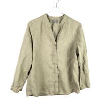 J.Jill 100% Linen Button Down Top Size L Beige Slit Long Sleeve V-Neck Shirt