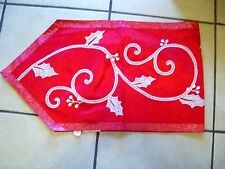60 IN RED SILK WHITE CROCHETED LACE CHRISTMAS TABLE RUNNER  DECORATION