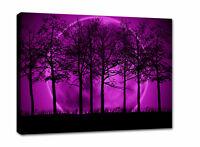 PURPLE CANVAS PICTURE PRINT MOON TREES SCENIC framed A2