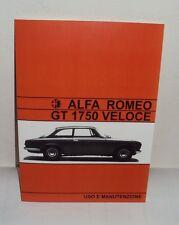 Uso e manutenzione Alfa Romeo GT 1750 Veloce use and maintenance owner's manual
