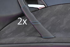 blue stitch FITS MERCEDES E CLASS W210 95-02  2X DOOR HANDLE LEATHER COVERS