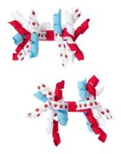 GYMBOREE BURST OF SPRING RED WHITE & BLUE STRAWBERRY CURLIES BARRETTES 2-ct NWT