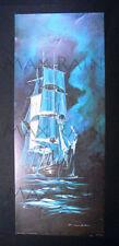 BULGER painting Tall Sailing Ship galleon sail boat ART PRINT 1966 night sea